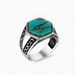 Turquoise Stone Silver Men Ring