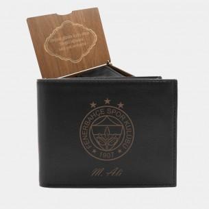FB Logo Persönliche Portemonnaie mit Gravur aus Leder