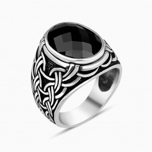 Black Zircon Stone Silver Men Ring