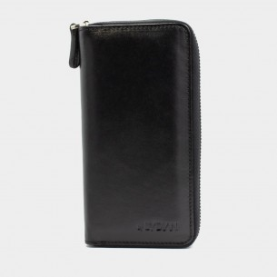Black Leather Hand Wallet with Phone Entry