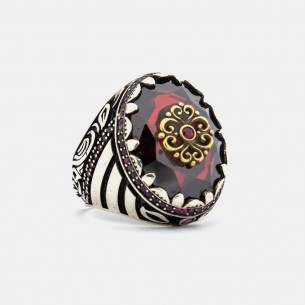 Red Zirkonia Stone Handmade 925 Sterling Silver Ring