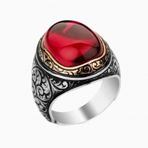 Ruby Stone Mens Ring in 925s Silver