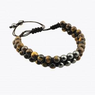 Tiger Eye and Hematite Stone Men's Bracelet