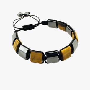 Tiger Eye und Hematite Stone Herrenarmband