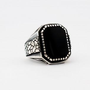 Silberner Herrenring mit schwarzem Onyxstein