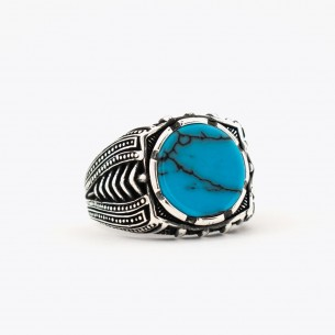 Silver Men's Ring with Turquoise Stone