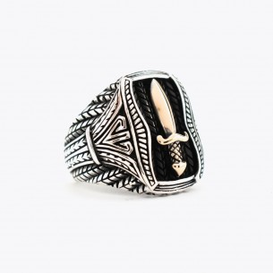 Sword Motif Silver Men's Ring