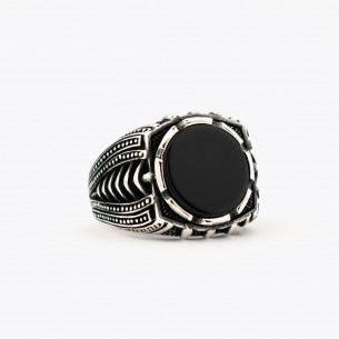 Black Zircon Stone Silver...
