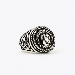 925 Sterling Silver Lion Figured Ring