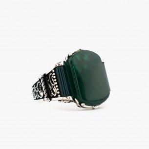 Green Agate Stone Silver Men Ring