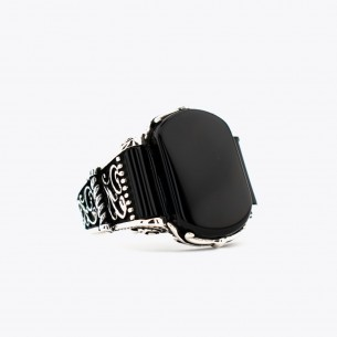 925 Sterling Silver Men Ring with Black Onyx Stone