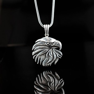 925 Sterling Silver Men Necklace with Eagle Motif