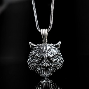 925 Sterling Silver Men Necklace with Wolf Motifs