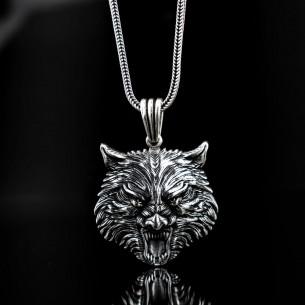925er Sterling Silber Herren Halskette mit Wolf Motiven