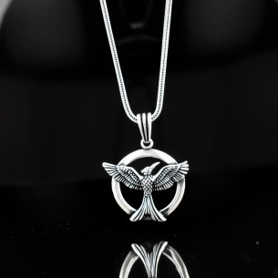 925 Sterling Silver Men Necklace with Phoenix Motifs