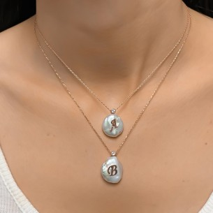 Real Pearl Letter Necklace