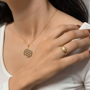 Flower of Life Woman Silver Necklace and Ring Set