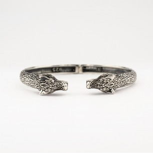 925 Sterling Silver Men's Bracelet with Wolf Motif