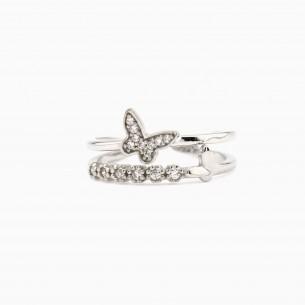 Schmetterling Silber Frauen Ring