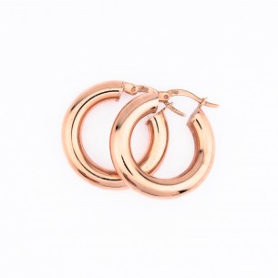 Rose Plated 925 Sterling Silver Hoop Earrings