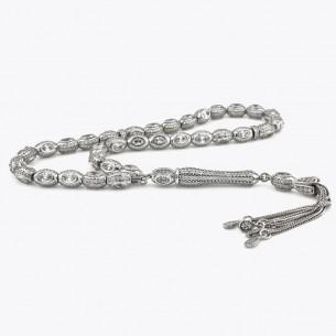 925 Sterling Silver Tasbih with Zircon Stones