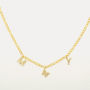 Butterflys Initials Necklace Chain