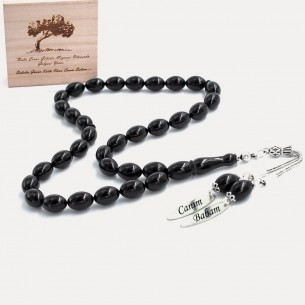 Black Amber Stone Tasbih with 925s Silver Names
