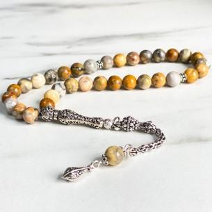 Crazy Agate Stone Silver Prayer Beads
