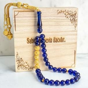 Artificial Amber İnitial w Silver Tassel Prayer Beads Tasbih