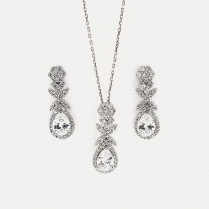 Zirkonstein 925 Sterling Silber Halskette und Ohrringe Set