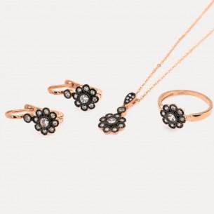 Zirkon Stein Halskette Ring und Ohrringe Set