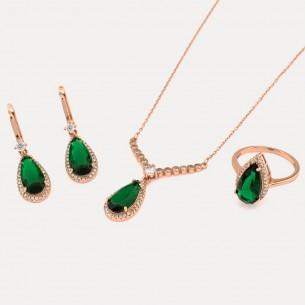 Grüner Zirkonstein Halskette Ring und Ohrringe Set