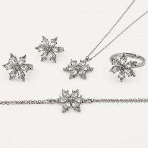 Weißer Zirkonstein Halskette Ring Armband und Ohrringe Set