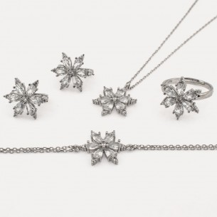 White Zircon Stone Necklace Ring Bracelet and Earrings Set