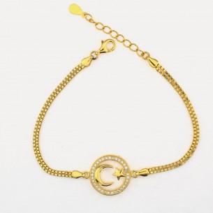 Moon Star vergoldetes Armband aus 925er Sterlingsilber
