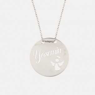 925 Sterling Silver Name Necklace with Angel Motif