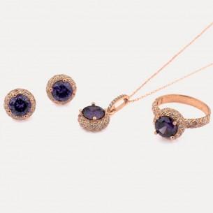 Lila Zirkon Stein Halskette Ring und Ohrringe Set