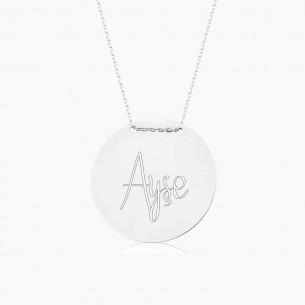 Medallion Name Silver Necklace