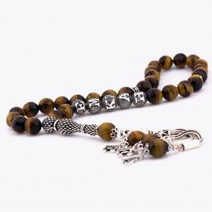 İsimli Tesbih - Tigerauge Gebetskette mit Initial aus 925 Silber