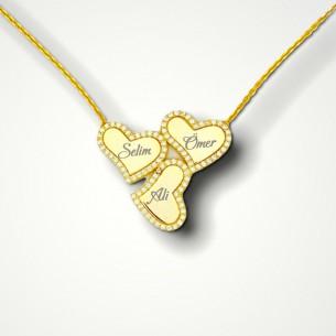 3 İsimli Kalpli Altın...