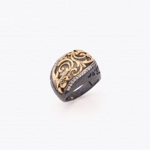 Engraved Women Silver Ring
