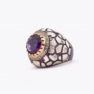 Zircon Big Stone Women Silver Ring