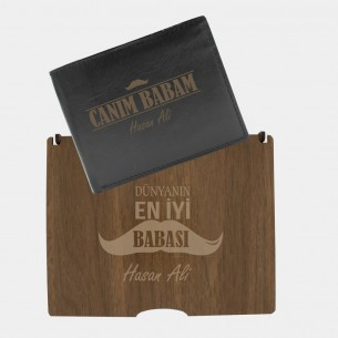 Custom Leather Wallet with Wood Gift Box