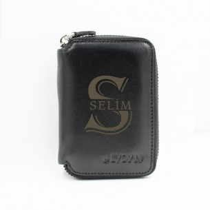 Personalized Black Genuine Leather Card Holder