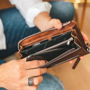 Brown Leather Phone Wallet & Handbag