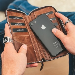 Leather Hand Wallet with Phone Entry
