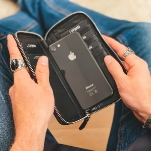 Telefon Girişli Siyah Deri Fermuarlı Cüzdan