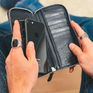 Lederhand Brieftasche mit Telefon Eintritt