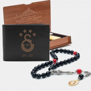 Personalized Leather Wallet & Tasbih Gift set