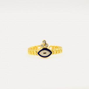 Böse Augen Perlenring aus 925er Sterlingsilber
